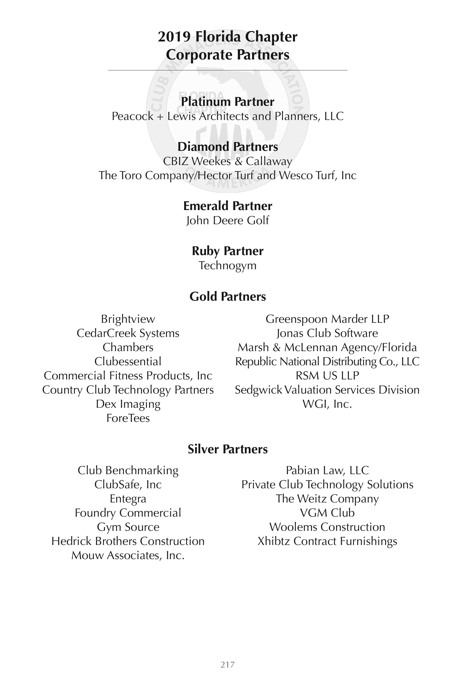 Florida Chapter CMAA Corporate Partner & Directory Sponsors
